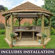 4m Hexagonal Gazebo with Thatched Roof - Furnished Cream