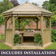 3.6m Hexagonal Gazebo with Timber Roof - Furnished Cream
