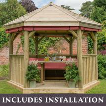 3.6m Hexagonal Gazebo with Timber Roof - Furnished Terracotta