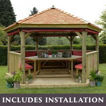 4.7m Hexagonal Gazebo with Cedar Roof - Furnished Terracotta