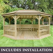 5.1m Oval Gazebo with Timber Roof and Benches