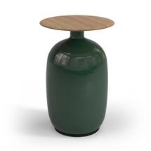 Blow High Side Table Natural Teak Top - Emerald