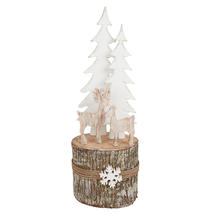 Birch Log Winter Reindeer Scene - Extra Large
