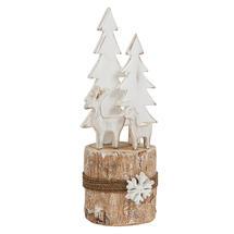 Birch Log Winter Reindeer Scene - Medium