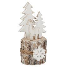 Birch Log Winter Reindeer Scene - Small