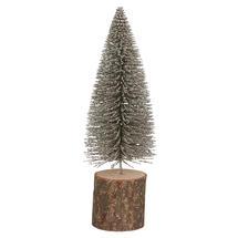 Silver Dusted Bottle Brush Fir Tree - Medium