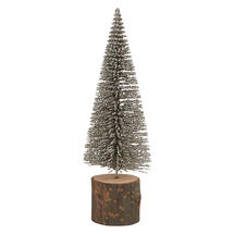 Silver Dusted Bottle Brush Fir Tree - Small