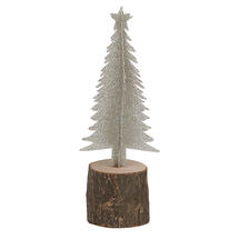 Silver Tree On Birch Log - Small
