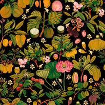 Wallpaper Asian Fruits and Flowers Anthracite