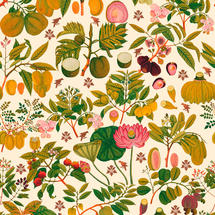 Wallpaper Asian Fruits and Flowers