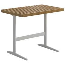 Grid Side Table - Natural Teak Top White