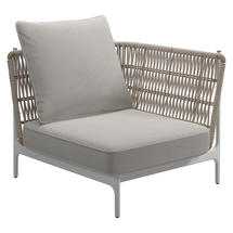 Grand Weave Small Corner Unit White / Almond - Blend Linen