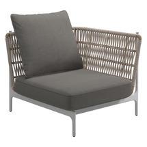 Grand Weave Small Corner Unit White / Almond - Fife Rainy Grey