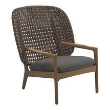 Kay High Back Lounge Chair Brindle Weave- Granite