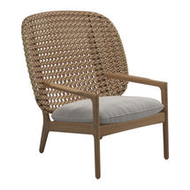 Kay High Back Lounge Chair Harvest Weave- Blend linen