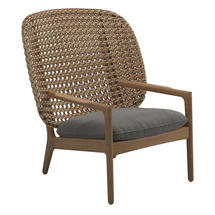Kay High Back Lounge Chair Harvest Weave- Fife Rainy Grey