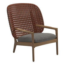 Kay High Back Lounge Chair Copper Weave- Fife Rainy Grey