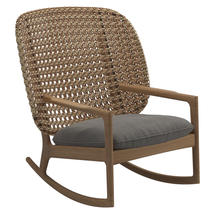 Kay High Back Rocking Chair Harvest Weave- Fife Rainy Grey
