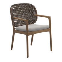 Kay Dining Chair with Arms Brindle Weave- Blend linen