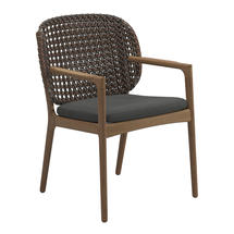 Kay Dining Chair with Arms Brindle Weave- Blend Coal