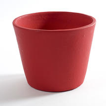 Painted Plant Pot Ruby Red