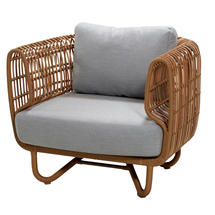 Nest Outdoor Natural Lounge Chair - Light Grey Cushions