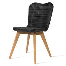 Lena Dining Chair with Teak Legs - Black