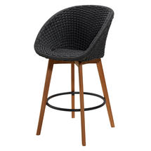 Peacock Rope Bar Chair - Teak / Dark Grey Weave