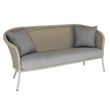 Cordial Beige Curved Top Lounge 3 Seat Sofa with Anthracite Cushions