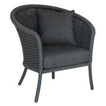 Cordial Grey Curved Top Lounge Chair with Charcoal Cushions