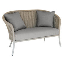 Cordial Beige Curved Top Lounge Sofa with Anthracite Cushions