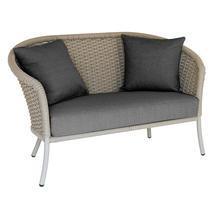 Cordial Beige Curved Top Lounge Sofa with Charcoal Cushions