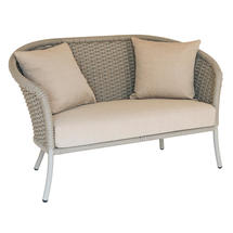 Cordial Beige Curved Top Lounge Sofa with Oatmeal Cushions