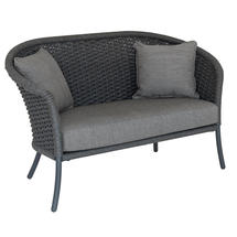 Cordial Grey Curved Top Lounge Sofa with Anthracite Cushions