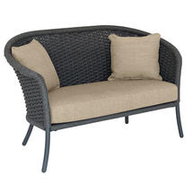 Cordial Grey Curved Top Lounge Sofa with Oatmeal Cushions