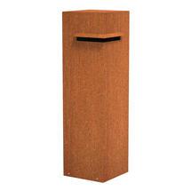 Pillar Corten Steel Letterbox with Corner Slot