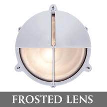 Large Bulkhead Split Shade - Chrome with External Fixing Legs/Frosted Lens
