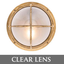 Round Bulkhead with Cross Grille - Brass/Clear Lens