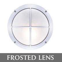 Round Bulkhead with Cross Grille - Chrome/Frosted Lens
