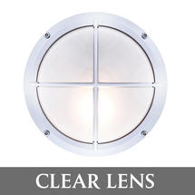 Round Bulkhead with Cross Grille - Chrome/Clear Lens