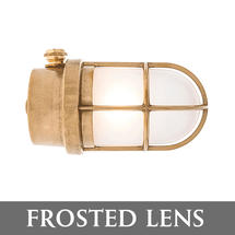 Grille Lamp - Brass/Frosted Lens