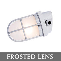 Angled Grille Lamp - Chrome/Frosted Lens
