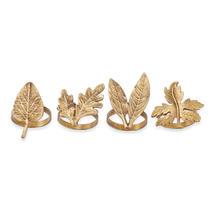 Autumn Leaves Napkin Rings Brass - Set of 4