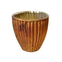 Small Vintage Ribbed Beaker Votive - Old Gold
