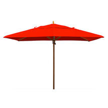 Classic Wood Framed Rectangle Parasols - Red