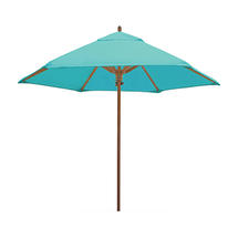 Classic Wood Framed 2.6m Round Parasols - Turquoise