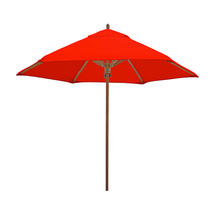 Classic Wood Framed 2.6m Round Parasols - Red