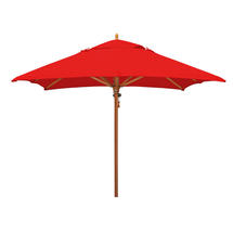 Classic Wood Framed 2.8m Square Parasols - Red