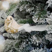 Velvet Sequined Bird Clip Decoration- Winter White