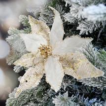 Sequined Velvet Poinsettia Clip Decoration - Winter White